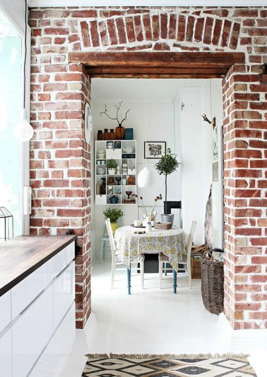 brick walls kitchen