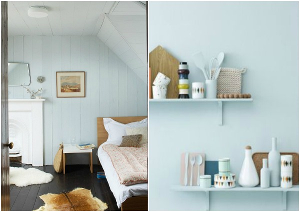 Cozy look, light blue and wood