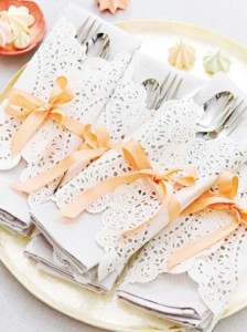 cutlery with apricot ribbons
