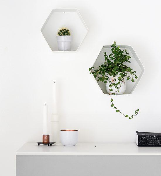 The Easiest Way To Make DIY Hexagon Wall Shelves
