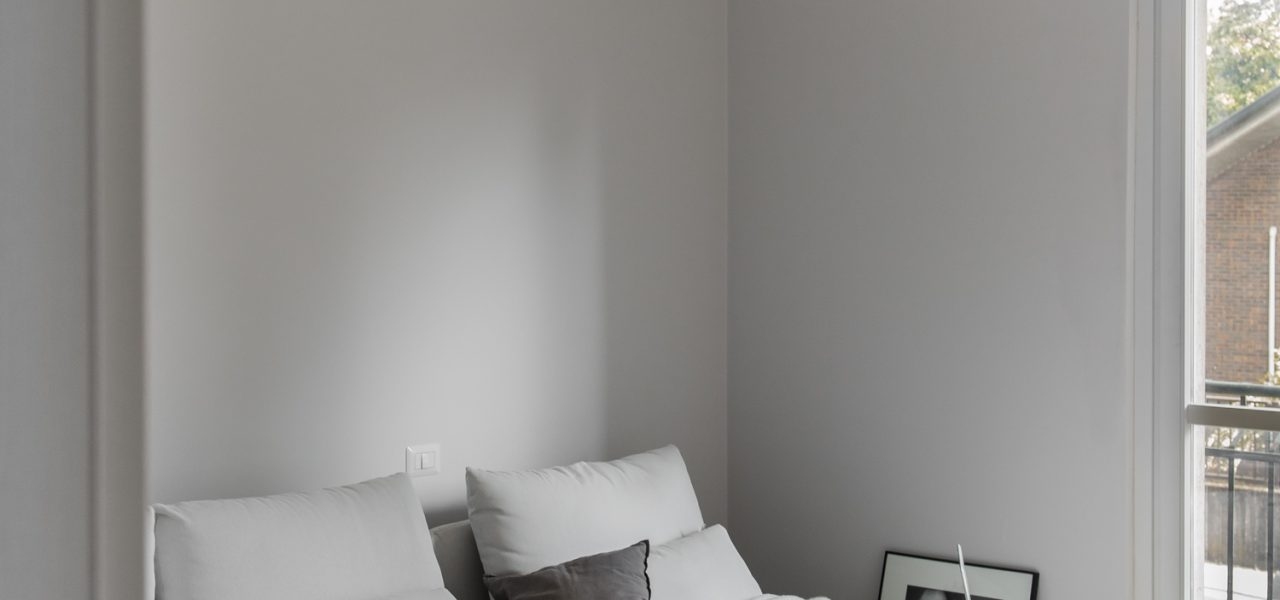 Living room progress with wall color by Farrow and Ball